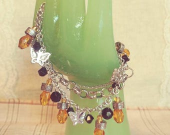 Citrine Colored Butterfly Bracelet