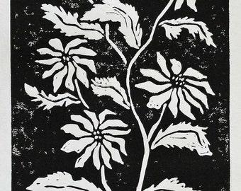 Still life botanical print 5x7 black original linocut, home decor, daisy flowers block print, sfa, folk art print, kitchen decor, wall art
