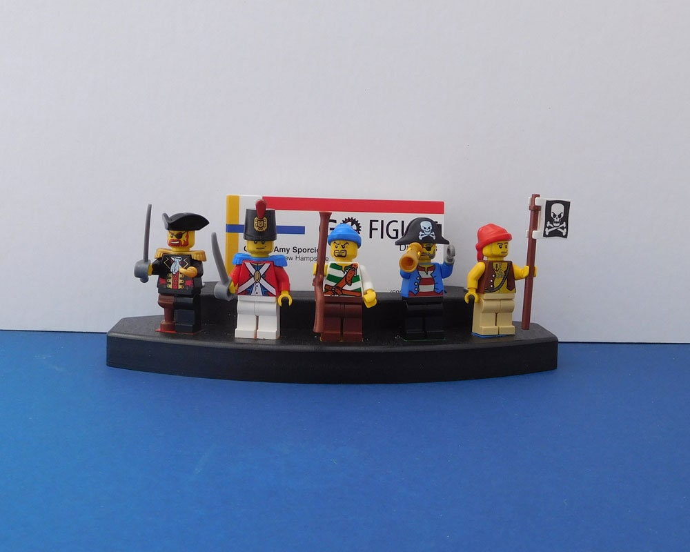 Business Card Holder Minifigure Stand, black poly lumber, holds 5 ...