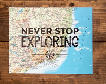 "Brazil Map Print, Never Stop Exploring, Great Travel Gift, 8"" x 10"" Letterpress Print"
