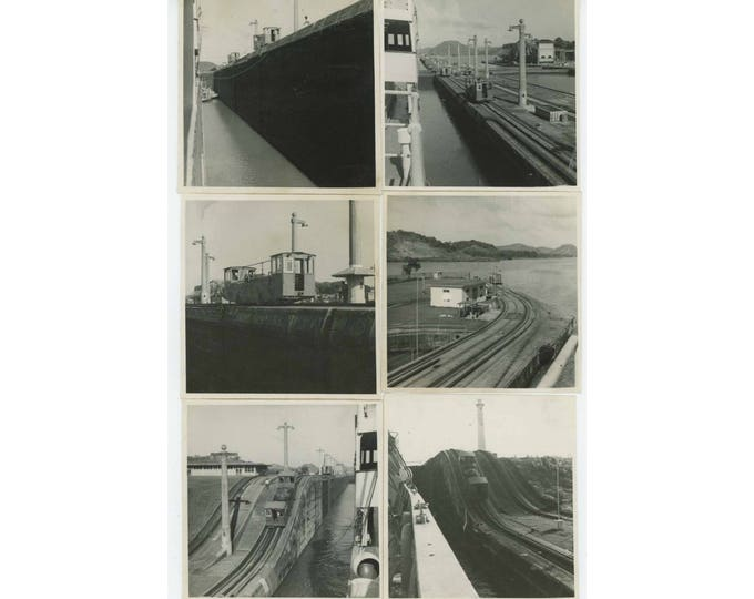Set of 8: Panama Canal Locks & Trains c1940s-50s Vintage Snapshot Photos (78598)