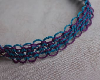 19 inch purple and turquoise hemp necklace