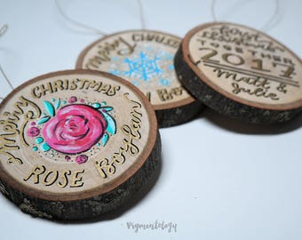 Custom First Christmas or Personalized Hand Lettered Wood Slice Ornament