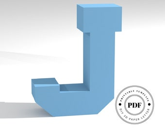 Printable DIY template (PDF).  Letter J low poly paper model template. 3D paper lettering. Origami. Papercraft. Cardboard alphabet.