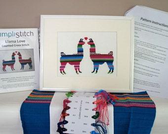 Cross Stitch Kit   Llama Love Modern Cross Stitch   Beginner Cross Stitch Pattern