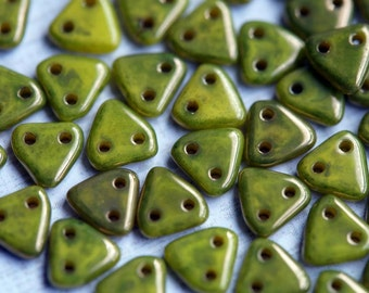 6mm CzechMates Triangle Beads - Olive Czech Mates Triangle - Chartreuse -  Luster Czech Glass Beads - Two Hole Beads - Bead Soup Beads
