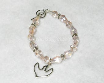 Girls Confirmation Catholic Confirmation Gift Champagne Pink Whimsical Swarovski Crystal Glass Bead Bracelet With Holy Spirit Dove Charm