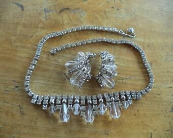 Retro Vintage Crystal Rhinestone Bead Necklace Earring Set Perfect Vintage Bride Jewelry