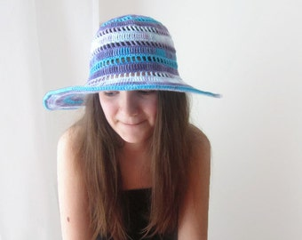 Summer Floppy Hat Wide Brimmed Cotton Crochet Accessory Beach Wear Sun Protection Women Slouchy Hat Turquoise Blue Purple by dodofit on Etsy