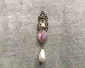 Czech Glass and Pearls Lavaliere Pendant / 1920s / Edwardian