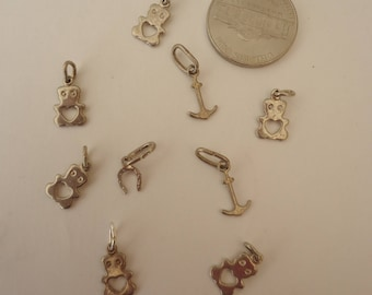Lot of Vintage Tiny 925 Sterling Silver Charms, 9 Pieces, 4 Grams Total, Teddy Bears, Anchors, Horseshoe