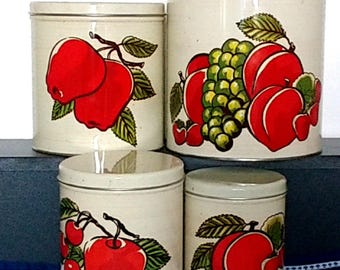 Ballonoff Nested Storage Cannisters Decorative Tins 70s Retro
