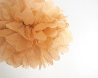 paper pom pom: kraft tissue paper pom pom party decor, nursery decor, cake smash