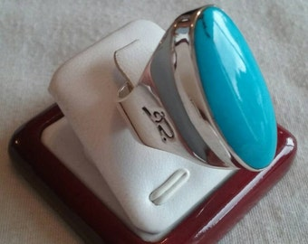 925 Sterling Silver large Ring with italian turquoise stone