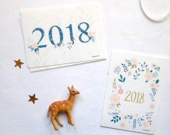 Cartes de voeux 2018, carte de bonne année 2018, 2018 voeux, 2018 carte Meilleur voeux - lot de 8 cartes