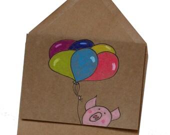 Cute pig birthday card/ happy birthday card/ birthday card for girlfriend/ Birthday card for boyfriend/ congratulations card/ balloons card