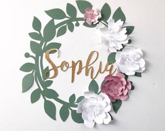 Custom Paper Flower Wreath Loop Spring Wedding Rifle Paper Co Modern Decor Baby Shower Nursery Bride Wedding Photo Booth. Photo Backdrop
