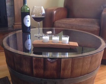 wood barrel furniture. Reversible Reclaimed Half Wine Barrel Table With Tempered Glass Top Wood Furniture