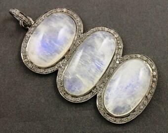 Pave Diamond Pendant, Pave Rainbow Moonstone Pendant, Diamond Moonstone Charm, Pave Gemstone, Pave Connector, Oxidized silver.  (DCH/OT/104)