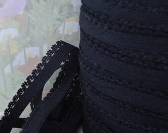 5yds Skinny Elastic 3/8 inch Black Picot Elastic Bra Making supplies Headbands lingerie Single sided Bra Elastic Picot Trim P1
