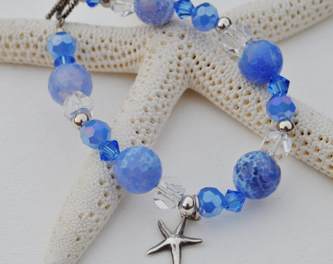 Blue Agate Starfish bracelet set with blue Czech glass, Swarovski blue crystals, clear crystals and sterling silver