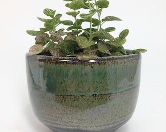 Succulent Planter, Ceramic Planter, Blue Clay Pot, Stoneware Planter, Rustic Planter, Flower Pot, Pottery Planter, Cactus Pot, Has Drainage