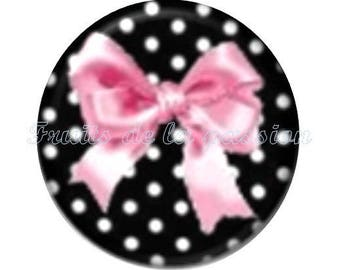 Set of 2 cabochon round glass black and Pink Ribbon