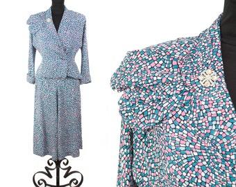 1940s Suit // Mosaic Novelty Print Rayon Suit Skirt Jacket Set