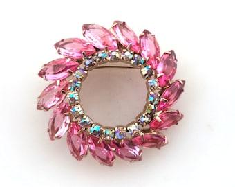 Retro Pink Juliana Style Rhinestone Brooch Pin Marquis Open Back Prong Set Circle Brooch Jewelry