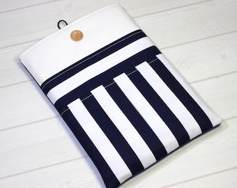 iPad Air case, navy blue, tablet sleeve, iPad Pro sleeve, blue stripes, Google Pixel C, nautical, Galaxy Tab S3, iPad Air sleeve, gift