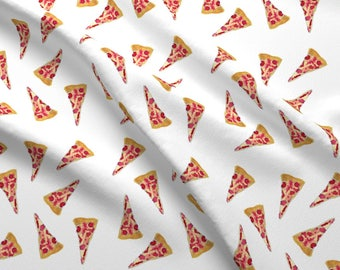 Watercolor Pizza Fabric - Pizza Pizza By Trizzuto - Pizza Novelty Hipster Food Pepperoni Cotton Fabric By The Yard With Spoonflower