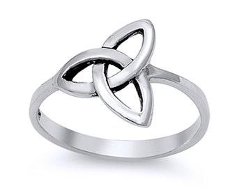 Women Sterling Silver Celtic Design Ring / Free Gift Box(SNRP141918)