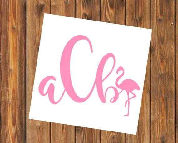 Free Shipping-Monogram Decal Flamingo, Yeti Decal, Vine Arrow Circle Monogram, Personalized, Cooler, Yeti, Laptop, Back to School Sticker