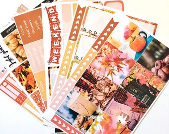 Fall planner stickers weekly kit: FALL PHOTOS stickers for Erin Condren eclp and mambi Happy Planner