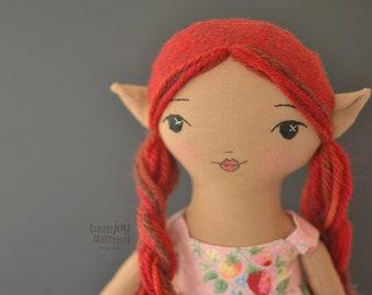 "Mara ~ 14"" Elf doll - handmade rag doll - heirloom"