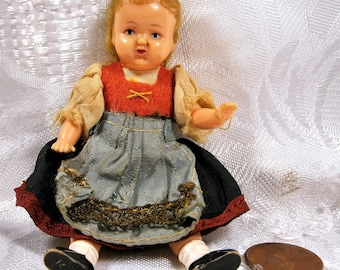 """Miniature Doll, Folk Art Doll, Doll House Doll, Eastern European Outfit, Jointed Arms and Legs, Vintage Celluloid Doll, Ethnic Doll, 4"""""""