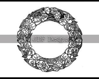Instant Digital Download, Antique Edwardian Graphic, Floral Rose Wreath, Book Engraving, Printable Image, Scrapbook, Wedding, Invitation