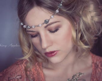Hair band, Tiara, Circlet-' Rosalie ' in the colors silver and pink/Middle Ages, photo shooting, festival, bridal jewelry, Boho style