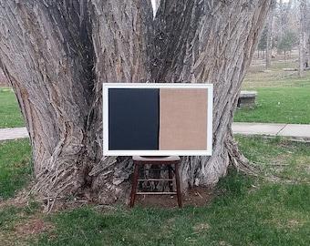 """GRAND tableau magnétique encadrée et Pin planche classique blanc Style Vintage encadré bête - 23 x 35"""" toile de jute naturelle Pin planche tableau noir"""