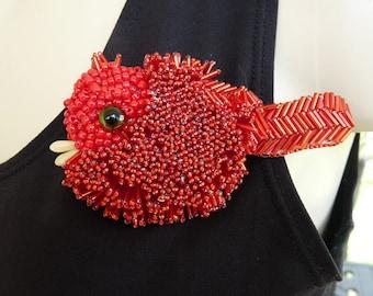 Bird Brooch Cardinal Red Bird Seed Bead Art to Wear Pin Gift!  INBW