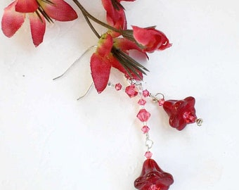 Flower Fairy Siam Tulip Swarovski Crystal Earrings