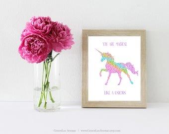 Glitter pink unicorn wall art, nursery prints, 8x10, girls bedroom, You are magical like a unicorn, girls room, glitter green, printable