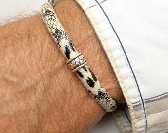 Men synthetic leather bracelet Karen hill tribe silver trendy ajustable man wristband gift