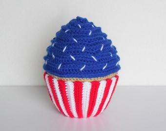 "6"" Large Amigurumi Crochet Patriot Cupcake / Stuffed Crochet Red White and Blue Cupcake / Plush Amigurumi Crochet Cupcake"