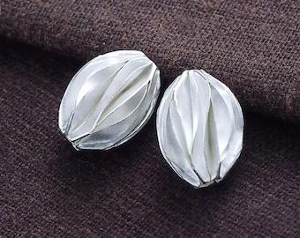 2 of Karen Hill Tribe Silver Pleat Beads 10x14 mm. :ka4165
