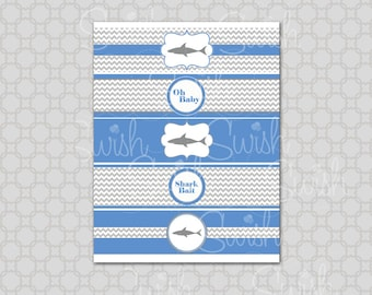Shark Baby Shower Water Bottle Labels | Shark Party Ideas | Shark Printables |  Water Bottle Wraps | Digital Download | Instant Download