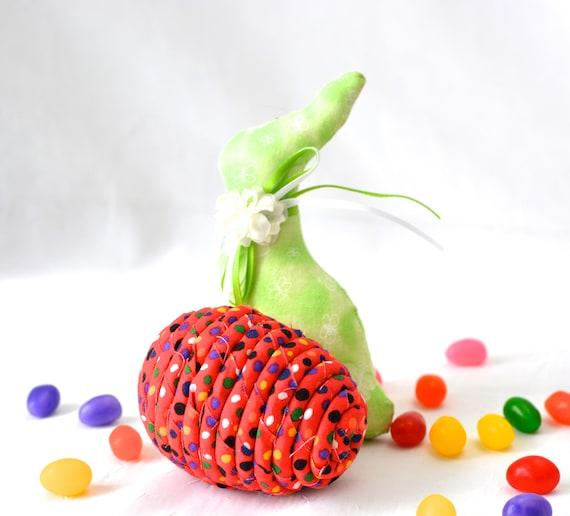 Red Easter Egg Ornament, Handmade Red Easter Egg Decoration, Easter Egg Hunt, Hand Coiled Fiber Easter Egg, Artisan Coiled Fabric Egg