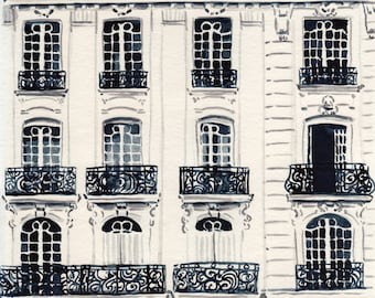 Paris Apartments Balcony Wrought Iron  Print of Watercolor Painting Travel Photography Architecture Ornate Art Nouveau Gift for Her
