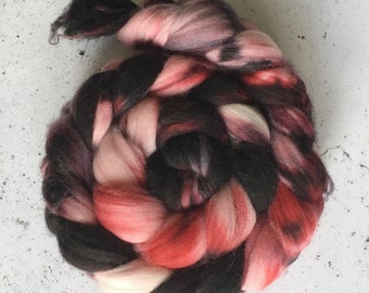 Hand Painted Wool Roving, Spinning Fiber, 75 Superwash Merino Wool, 25 Nylon Top, 100 grams Dyed to order