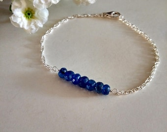 Free Shipping-Blue Sapphire Bar Sterling Silver Rope Chain Bracelet. Semi-Precious Stone Bracelet, Gift Ideas. For Her. Christmas Gift.